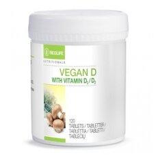 Vitaminas D2 ir D3 - Vegan D, vitamino D maisto papildas (120 tab.)