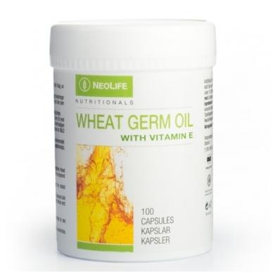 """Wheat Germ Oil with Vitamin E - """"NeoLife"""" pilnos formulės vit. E mitybos papildas (100 kapsulių)"""